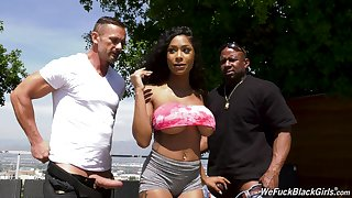 Inked ebony fluff Sarai Minx sprayed with cum there a gangbang