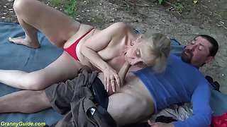 horny 86 years old granny enjoys rough fucking with her big cock toyboy in seal