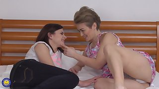 Mature lesbians Alana R. increased by Alenka lick each others pussies