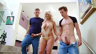 Lewd blond milf London Tributary hooks up with three nextdoor dudes