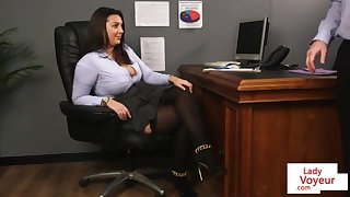 Office honey teaches slave fucking comrade to masturbate