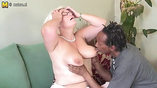 Mr Big British granny takes young black cock