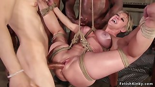 Tied big breasts blond gangbang bdsm