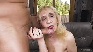 Mature blonde granny Nanney pounded doggy by an older man