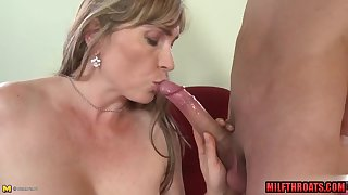Hairy mommy fellatio together with jizz greater than melons