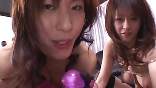 Sultry Sakura enjoy a delightful threesome