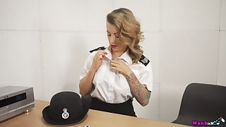 Horny British cop Charlie Z is near to indulge the brush own shaved pussy