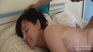 Naughty french mom cougar fucked and blocked up by boy n girl