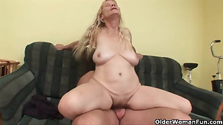Older nurturer with big tits coupled with hairy pussy gets facial