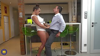 Latina MILF bombshell Susi pounded doggy style in the kitchen