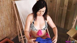 Ardent nympho Kacie James is made to give kinda BJ with an increment of good titjob ell