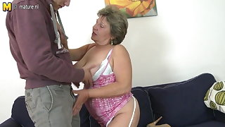 Granny fucking coupled with sucking her young kickshaw boy